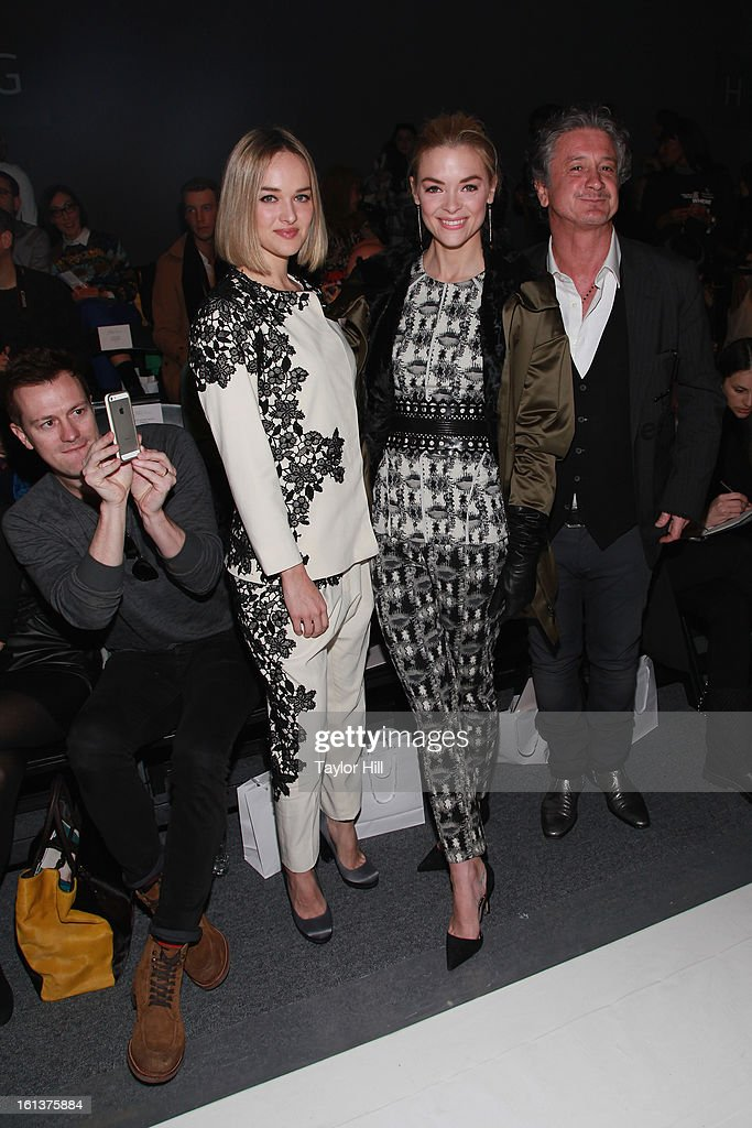 Producer Kyle Newman (seated), actress <a gi-track='captionPersonalityLinkClicked' href=/galleries/search?phrase=Jess+Weixler&family=editorial&specificpeople=4117574 ng-click='$event.stopPropagation()'>Jess Weixler</a>, actress Jaime king, and shoe designer Jean Michel Cazabat attend the Lela Rose Fall 2013 Mercedes-Benz Fashion Show at The Studio at Lincoln Center on February 10, 2013 in New York City.