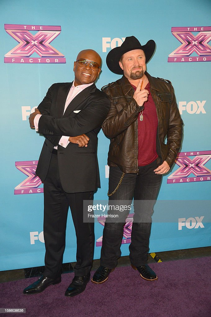 Producer <a gi-track='captionPersonalityLinkClicked' href=/galleries/search?phrase=L.A.+Reid&family=editorial&specificpeople=2546947 ng-click='$event.stopPropagation()'>L.A. Reid</a> and season 2 winner <a gi-track='captionPersonalityLinkClicked' href=/galleries/search?phrase=Tate+Stevens&family=editorial&specificpeople=9748309 ng-click='$event.stopPropagation()'>Tate Stevens</a> celebrate at Fox's 'The X Factor' Season Finale - Night 2 at CBS Television City on December 20, 2012 in Los Angeles, California.