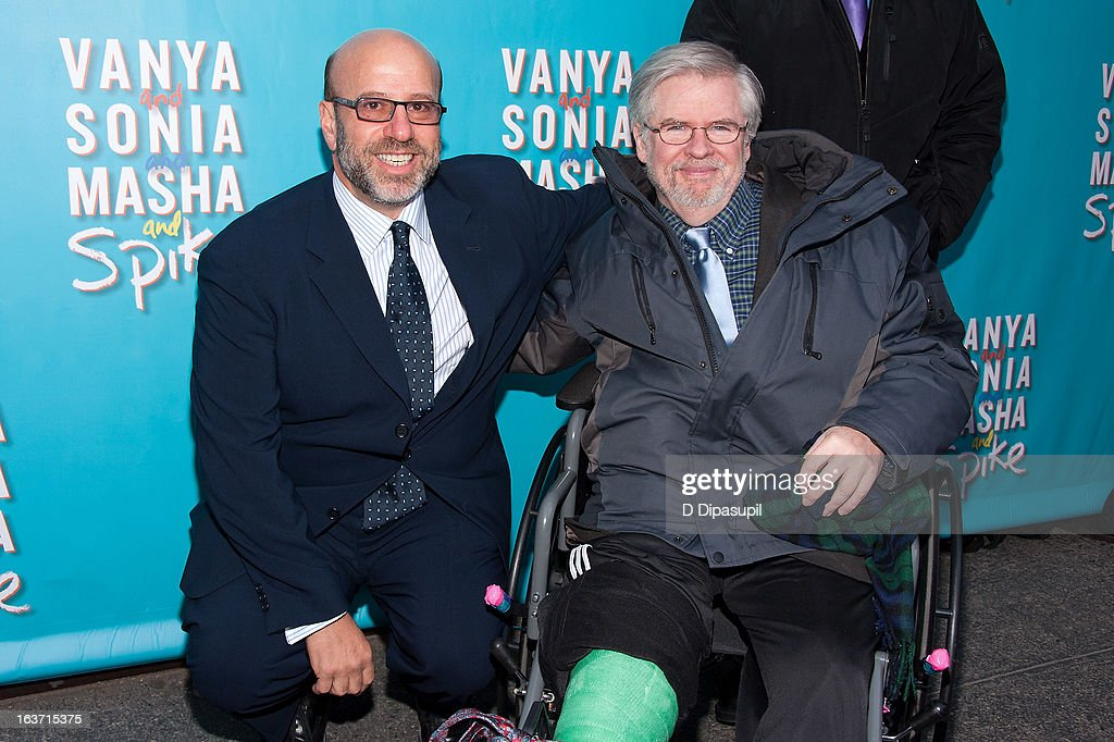 Producer Larry Hirschhorn (L) and playwright Christopher Durang attend the 'Vanya And Sonia And Masha And Spike' Broadway Opening Night at The Golden Theatre on March 14, 2013 in New York City.