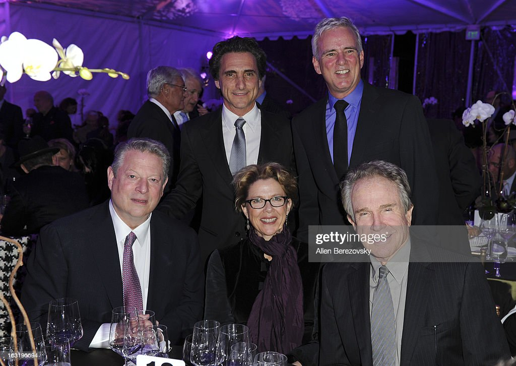 Producer Laurence Bender, Director of the UCLA Institute Of The Environment And Sustainability Glen McDonald, <a gi-track='captionPersonalityLinkClicked' href=/galleries/search?phrase=Al+Gore&family=editorial&specificpeople=119691 ng-click='$event.stopPropagation()'>Al Gore</a>, actress <a gi-track='captionPersonalityLinkClicked' href=/galleries/search?phrase=Annette+Bening&family=editorial&specificpeople=202568 ng-click='$event.stopPropagation()'>Annette Bening</a> and actor <a gi-track='captionPersonalityLinkClicked' href=/galleries/search?phrase=Warren+Beatty&family=editorial&specificpeople=201478 ng-click='$event.stopPropagation()'>Warren Beatty</a> attend UCLA Institute Of The Environment And Sustainability's 2nd Annual 'An Evening Of Environmental Excellence' - Inside on March 5, 2013 in Beverly Hills, California.