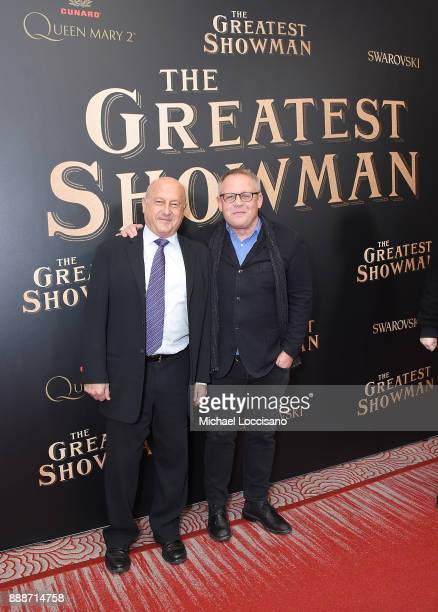 Producer Laurence Mark and screenwriter Bill Condon attend the 'The Greatest Showman' World Premiere aboard the Queen Mary 2 at the Brooklyn Cruise...