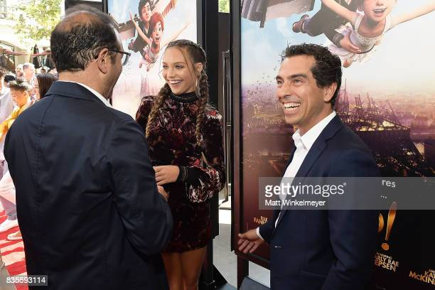 Producer Laurent Zeitoun actress/dancer Maddie Ziegler and producer Yann Zenou attend the Weinstein Company's 'LEAP' at The Grove on August 19 2017...