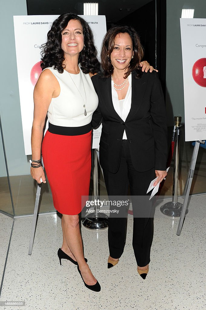 Producer Laurie David (L) and Camilla Harris arrive at the Los Angeles premiere of 'Fed Up' at Pacfic Design Center on May 8, 2014 in West Hollywood, California.