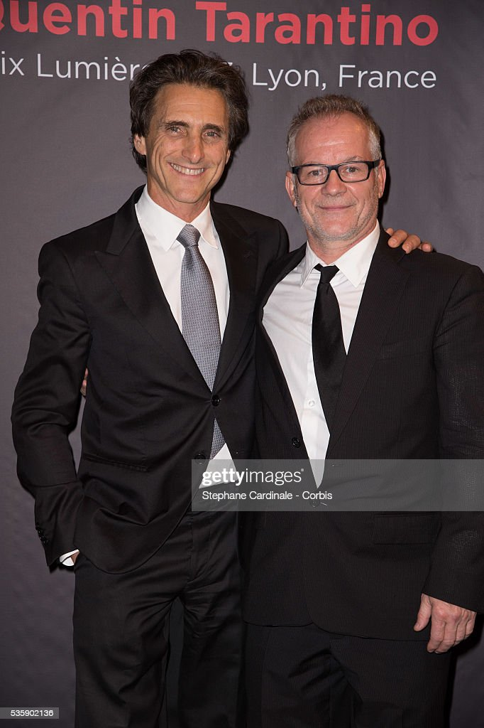 Producer Lawrence Bender (L) and Thierry Fremaux attend the Tribute to Quentin Tarantino, during the 5th Lumiere Film Festival, in Lyon.