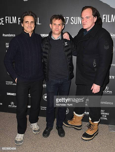 Producer Lawrence Bender Sundance Film Festival Senior Programme John Nein and director Quentin Tarantino attend the 'Reservoir Dogs' 25th...