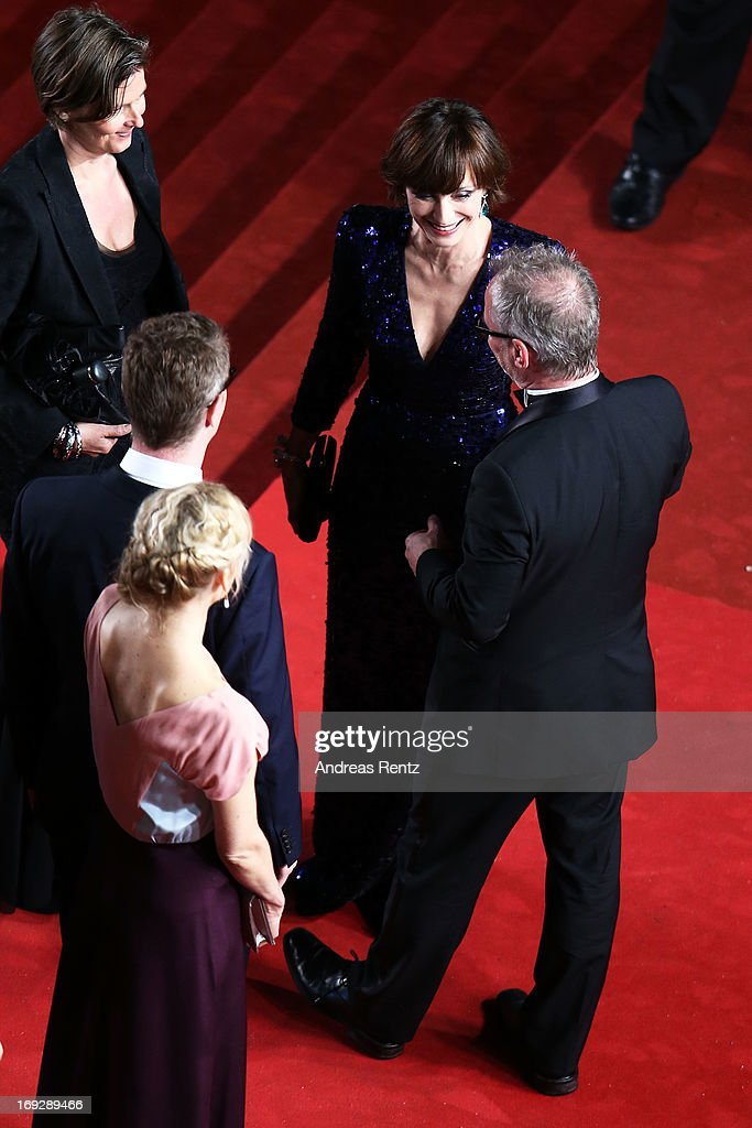 Producer Lene Borglum, director Nicolas Winding Refn his wife Liv Corfixen, Kristin Scott Thomas and festival director Thierry Fremaux attend the 'Only God Forgives' Premiere during the 66th Annual Cannes Film Festival at Palais des Festivals on May 22, 2013 in Cannes, France.