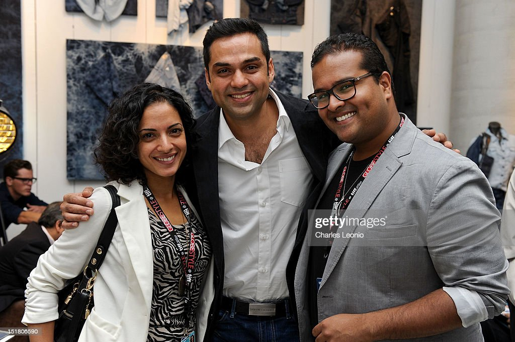 Producer Lina Dhingra, actor <a gi-track='captionPersonalityLinkClicked' href=/galleries/search?phrase=Abhay+Deol&family=editorial&specificpeople=5377911 ng-click='$event.stopPropagation()'>Abhay Deol</a> and Daniel Pallai attend the Guess Portrait Studio during 2012 Toronto International Film Festivalat at the Bell Lightbox on September 11, 2012 in Toronto, Canada.