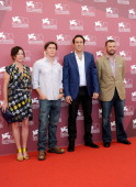 Producer Lisa Muskat Director David Gordon Green Actor Nicolas Cage and Producer Christopher Woodrow attend 'Joe' Photocall during The 70th Venice...