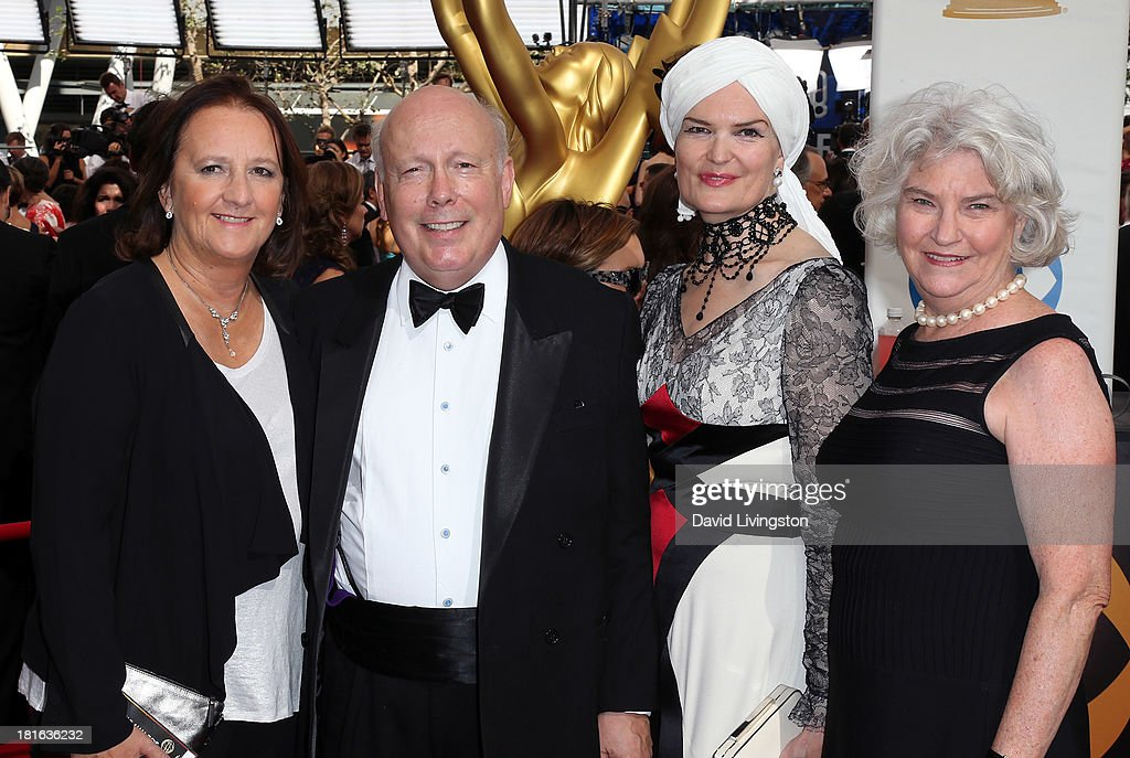 Producer Liz Trubridge, executive producer <a gi-track='captionPersonalityLinkClicked' href=/galleries/search?phrase=Julian+Fellowes&family=editorial&specificpeople=224703 ng-click='$event.stopPropagation()'>Julian Fellowes</a>, wife Emma Fellowes and producer Rebecca Eaton attend the 65th Annual Primetime Emmy Awards at the Nokia Theatre L.A. Live on September 22, 2013 in Los Angeles, California.