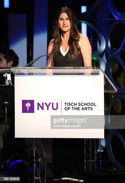 Producer Liza Chasin speaks onstage at NYU's Tisch School Of The Arts' West Coast Benefit Gala at Regent Beverly Wilshire Hotel on October 28 2013 in...