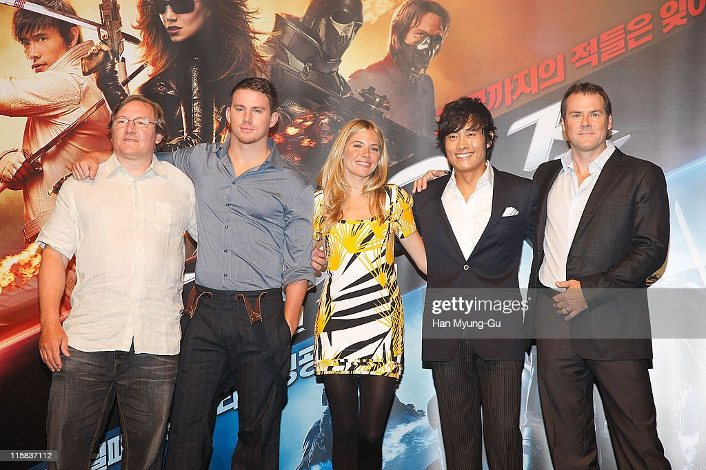 Producer Lorenzo di Bonaventura actor Channing Tatum actress Sienna Miller actor Lee ByungHun and director Stephen Sommers attend the 'G I Joe The...