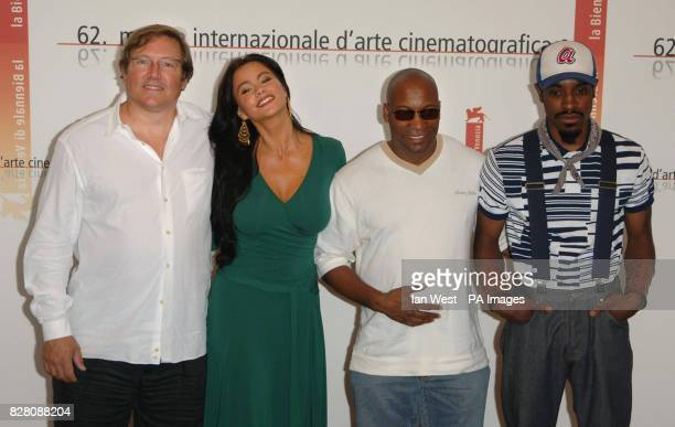 Producer Lorenzo di Bonaventura Sofia Vergara Director John Singleton and Andre Benjamin are seen at a p/call for their new film Four Brothers at...