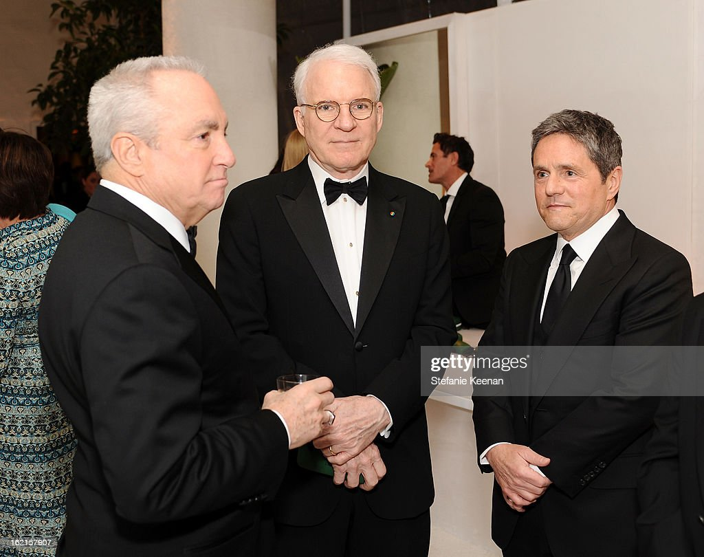 Producer Lorne Michaels, actor Steve Martin and Paramount Pictures Chairman/CEO Brad Grey attend the 15th Annual Costume Designers Guild Awards with presenting sponsor Lacoste at The Beverly Hilton Hotel on February 19, 2013 in Beverly Hills, California.