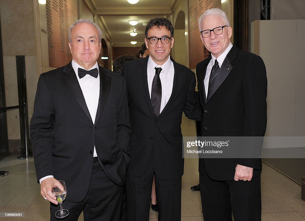 TV producer Lorne Michaels and actors and comedians Fred Armison and Steve Martin attend the American Museum of Natural History's 2010 Museum Gala at the American Museum of Natural History on November 18, 2010 in New York City.