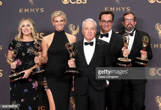 Producer Lorne Michaels and fellow producers of 'Saturday Night Live' winner of the award for Outstanding Variety/Sketch Series pose in the press...