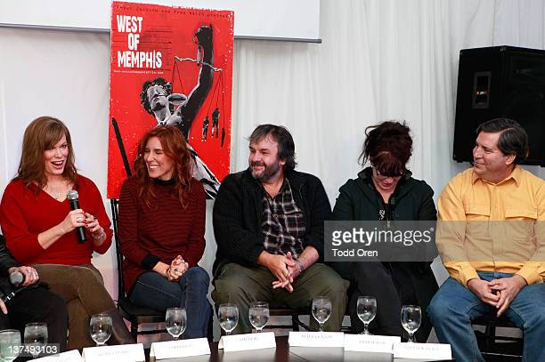 Producer Lorri Davis director Amy Berg producer Peter Jackson producer Fran Walsh and Stephen Braga speak at the 'West Of Memphis' Press Conference...