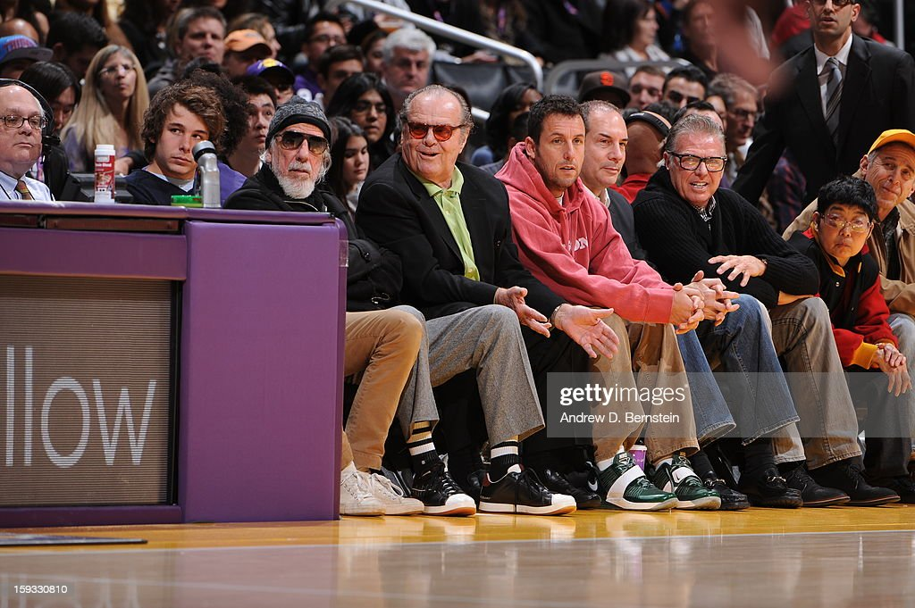 Producer Lou Adler, and actors Jack Nicholson, and Adam Sandler attend a game between the Oklahoma City Thunder and the Los Angeles Lakers at Staples Center on January 11, 2013 in Los Angeles, California.