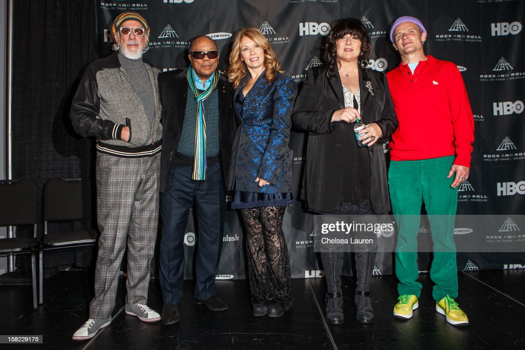 Producer Lou Adler, producer Quincy Jones, musician Nancy Wilson, musician Ann Wilson and bassist Flea of The Red Hot Chili Peppers attend the Rock & Roll Hall of Fame 2013 Inductee Press Conference at Nokia Theatre L.A. Live on December 11, 2012 in Los Angeles, California.