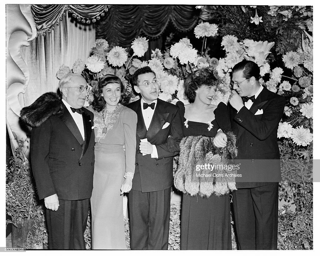 Producer Louis B. Mayer with actress <a gi-track='captionPersonalityLinkClicked' href=/galleries/search?phrase=Paulette+Goddard&family=editorial&specificpeople=207156 ng-click='$event.stopPropagation()'>Paulette Goddard</a>, director <a gi-track='captionPersonalityLinkClicked' href=/galleries/search?phrase=George+Cukor&family=editorial&specificpeople=226979 ng-click='$event.stopPropagation()'>George Cukor</a>, actress <a gi-track='captionPersonalityLinkClicked' href=/galleries/search?phrase=Joan+Crawford&family=editorial&specificpeople=70017 ng-click='$event.stopPropagation()'>Joan Crawford</a>, producer Hunt Stromberg pose during the premire of MGM movie ' The Women' in Los Angeles, California.