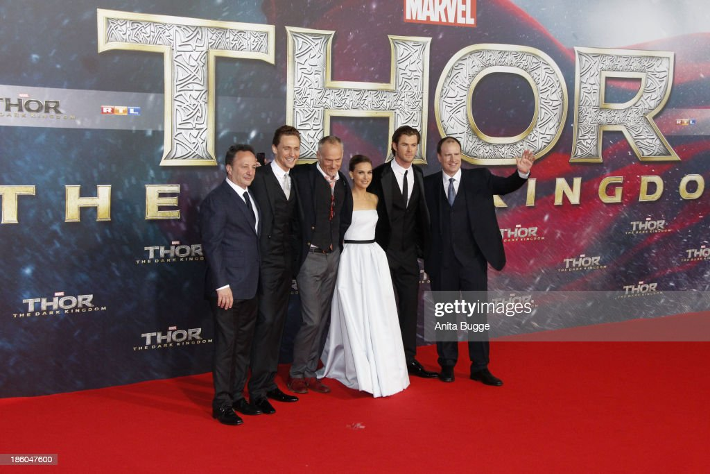 Producer Louis D'Esposito, actor Tom Hiddleston, director Alan Taylor, actor Chris Hemsworth and producer Kevin Feige attend the 'Thor: The Dark World' Germany premiere at Cinestar on October 27, 2013 in Berlin, Germany.