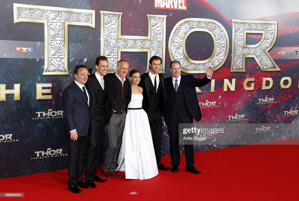 Producer Louis D'Esposito, actor Tom Hiddleston, director Alan Taylor, actress Natalie Portman, actor Chris Hemsworth and producer Kevin Feige attend the 'Thor: The Dark World' Germany premiere at Cinestar on October 27, 2013 in Berlin, Germany.