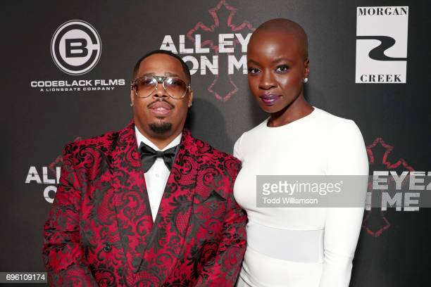 Producer LT Hutton and actor Danai Gurira at the 'ALL EYEZ ON ME' Premiere at Westwood Village Theatre on June 14 2017 in Westwood California