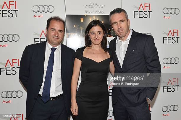 Producer Álvaro Augustín producer Belén Atienza and producer Ghislain Barrois arrive at the special screening of 'The Impossible' during the 2012 AFI...