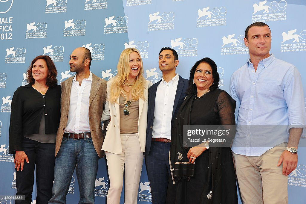 Producer Lydia Dean Pilcher, co-screenwriter Mohsin Hamid, actress <a gi-track='captionPersonalityLinkClicked' href=/galleries/search?phrase=Kate+Hudson&family=editorial&specificpeople=156407 ng-click='$event.stopPropagation()'>Kate Hudson</a>, actor Riz Ahmed, director <a gi-track='captionPersonalityLinkClicked' href=/galleries/search?phrase=Mira+Nair&family=editorial&specificpeople=214181 ng-click='$event.stopPropagation()'>Mira Nair</a> and actor <a gi-track='captionPersonalityLinkClicked' href=/galleries/search?phrase=Liev+Schreiber&family=editorial&specificpeople=203259 ng-click='$event.stopPropagation()'>Liev Schreiber</a> attend 'The Reluctant Fundamentalist' Photocall during the 69th Venice International Film Festival at Palazzo del Casino on August 29, 2012 in Venice, Italy.