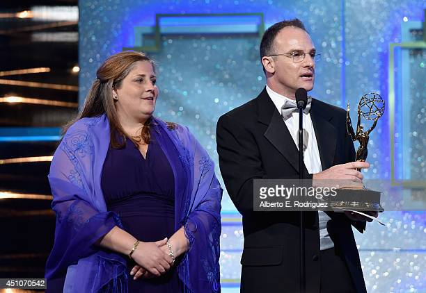 Producer Magdalena Cabral and TV personality Guillermo Arduino accept Outstanding Entertainment Program in Spanish for 'Clix' onstage during The 41st...
