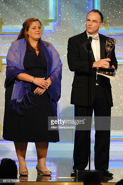 Producer Magdalena Cabral and TV personality Guillermo Arduino accept an Emmy Award for Outstanding Entertainment Program in Spanish for 'Clix'...