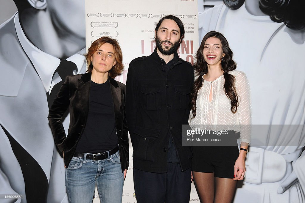 Producer Malagoli Simona, Actress Lavinia Longhi and Director Marco Righi attend 'I Giorni della Vendemmia' photocall at Cinema Mexico on November 24, 2012 in Milan, Italy.