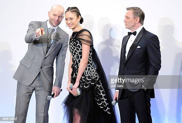 Producer Marc Foster actress Olga Kurylenko and actor Daniel Craig Marc attend the 'Quantum of Solace' Japan Premiere at Roppongi Hills on November...