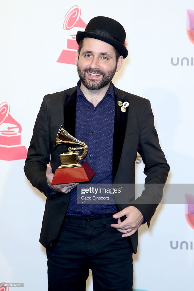 Producer Marcelo Fontao, winner of Best Short Form Music Video for 'Ojos Color Sol,' poses in the press room during the 16th Latin GRAMMY Awards at the MGM Grand Garden Arena on November 19, 2015 in Las Vegas, Nevada.
