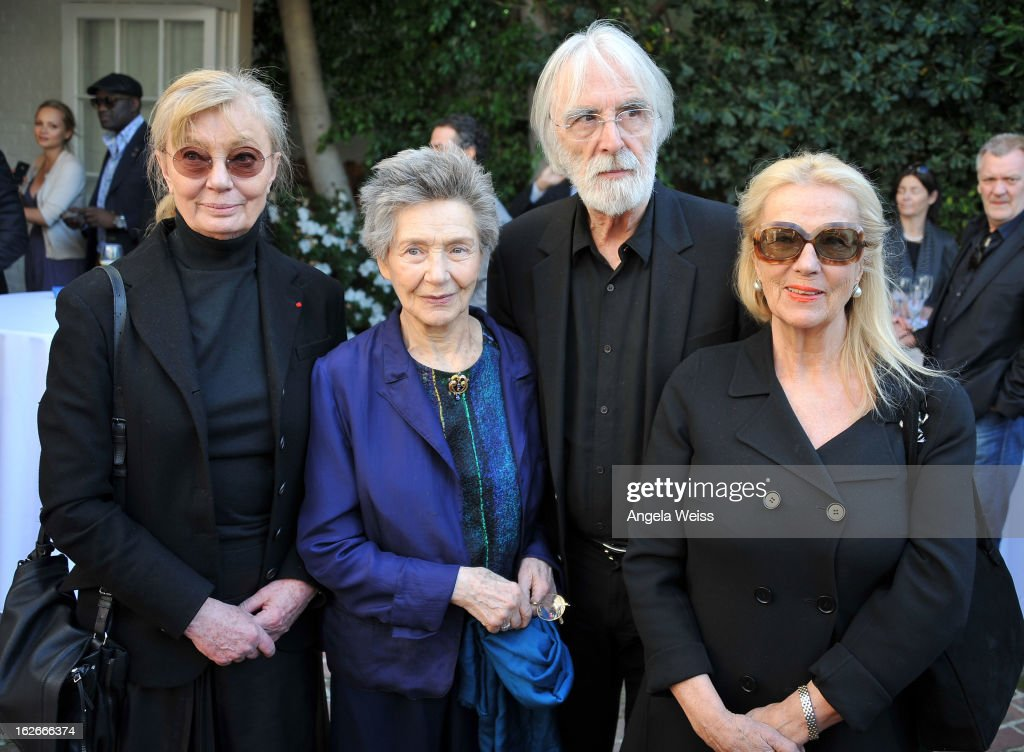 Producer Margaret Menegoz, actress Emmanuelle Riva, director Michael Haneke and his wife Susan Haneke attend an event hosted by the Consul General Of France, Mr. Axel Cruau, honoring the French nominees for the 85th Annual Academy Awards at French Consulate's Home on February 25, 2013 in Beverly Hills, California.
