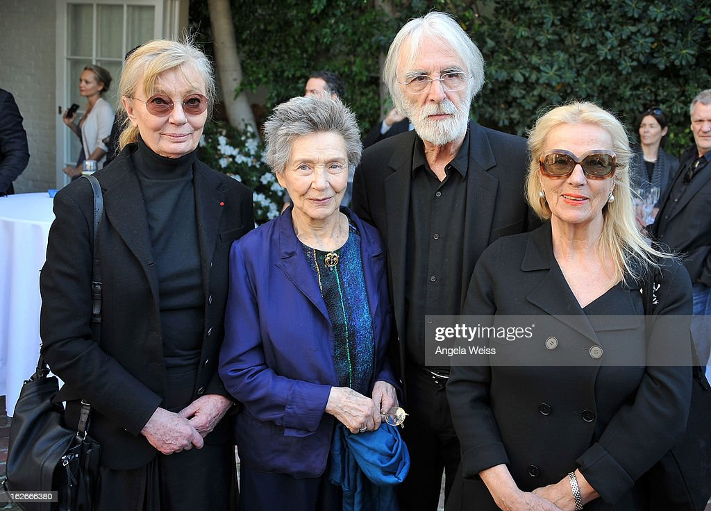 Producer Margaret Menegoz, actress <a gi-track='captionPersonalityLinkClicked' href=/galleries/search?phrase=Emmanuelle+Riva&family=editorial&specificpeople=2029319 ng-click='$event.stopPropagation()'>Emmanuelle Riva</a>, director <a gi-track='captionPersonalityLinkClicked' href=/galleries/search?phrase=Michael+Haneke&family=editorial&specificpeople=233739 ng-click='$event.stopPropagation()'>Michael Haneke</a> and his wife Susan Haneke attend an event hosted by the Consul General Of France, Mr. Axel Cruau, honoring the French nominees for the 85th Annual Academy Awards at French Consulate's Home on February 25, 2013 in Beverly Hills, California.