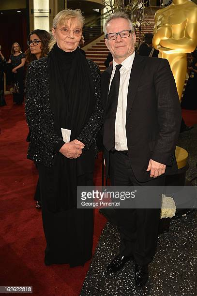 Producer Margaret Menegoz and guest arrive at the Oscars at Hollywood Highland Center on February 24 2013 in Hollywood California
