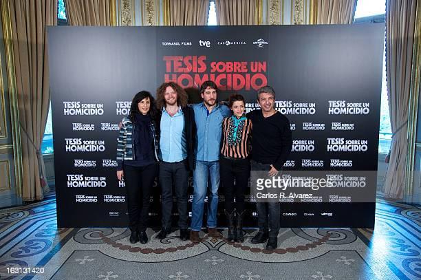 Producer Mariela Besuievsky director Hernan Goldfrid actor Alberto Ammann actress Calu Rivero and actor Ricardo Darin attend the 'Tesis Sobre Un...