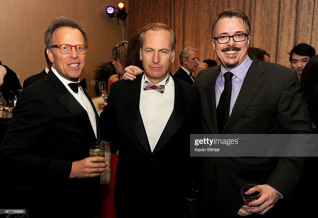 Producer Mark Johnson host Bob Odenkirk and producer Vince Gilligan attend the 64th Annual ACE Eddie Awards at the Beverly Hilton Hotel on February 7...