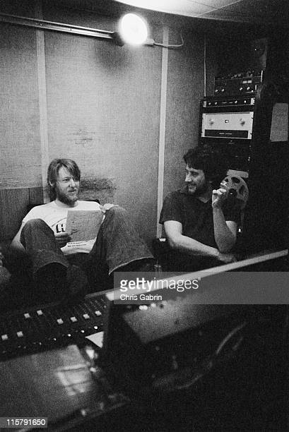 Producer Martin Rushent with drummer Jet Black of The Stranglers during recording of their second album 'No More Heroes' at TW Studios Fulham London...
