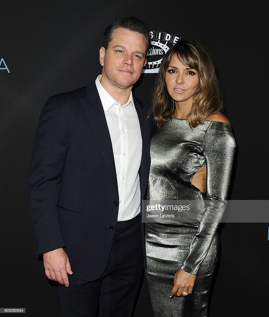 Producer Matt Damon and wife Luciana Damon attend the premiere of 'Manchester by the Sea' at Samuel Goldwyn Theater on November 14, 2016 in Beverly Hills, California.
