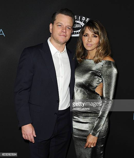 Producer Matt Damon and wife Luciana Barroso attend the premiere of 'Manchester by the Sea' at Samuel Goldwyn Theater on November 14 2016 in Beverly...