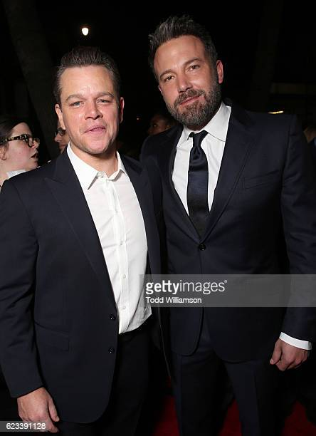Producer Matt Damon Ben Affleck gets a brotherlly grab by Casey Affleck at the 'Manchester By The Sea' Los Angeles Premiere at AMPAS Samuel Goldwyn...