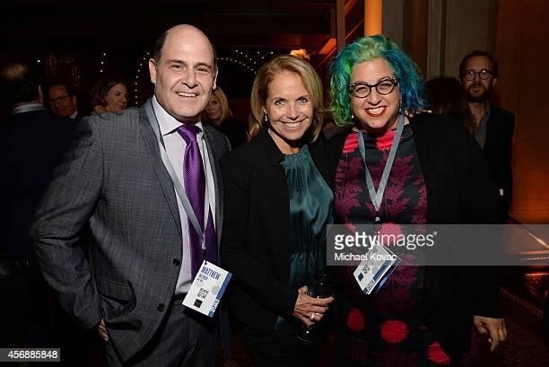 Producer Matthew Weiner Yahoo News Global Anchor Katie Couric and filmmaker Jenji Kohan attend the Vanity Fair New Establishment Summit Cockatil...