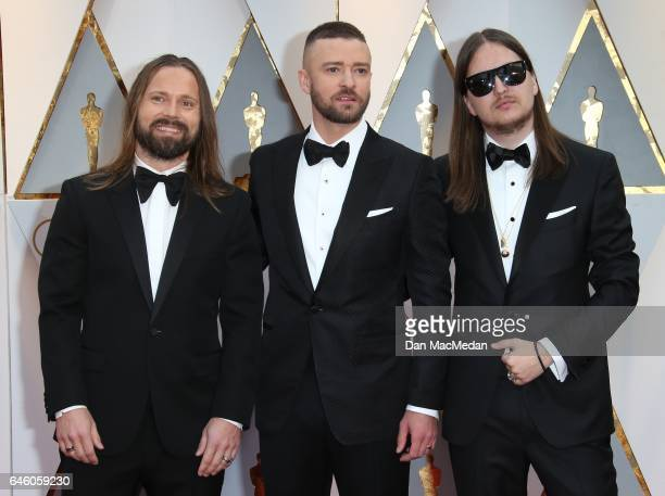 Producer Max Martin musician Justin Timberlake and producer Karl Johan Schuster arrive at the 89th Annual Academy Awards at Hollywood Highland Center...