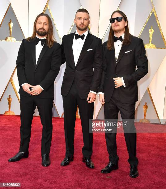 Producer Max Martin musician Justin Timberlake and producer Karl Johan Schuster arrives at the 89th Annual Academy Awards at Hollywood Highland...