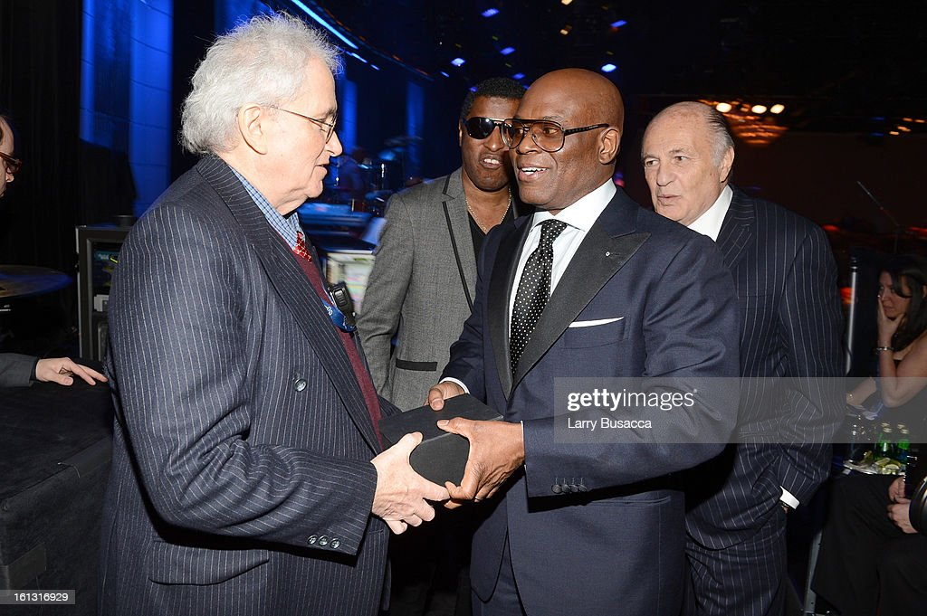 Producer Michael Ahern of MAP Productions, singer/music executive Kenneth 'Babyface' Edmonds, Epic Records Chairman/CEO Antonio 'L.A.' Rei and Sony Music Entertainment Chairman/CEO Doug Morris attend the 55th Annual GRAMMY Awards Pre-GRAMMY Gala and Salute to Industry Icons honoring L.A. Reid held at The Beverly Hilton on February 9, 2013 in Los Angeles, California.