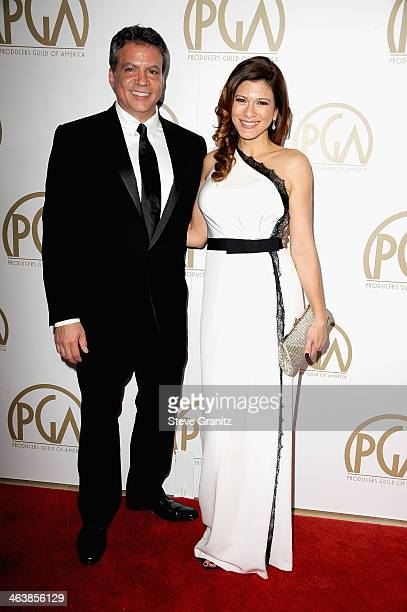 Producer Michael De Luca and Angelique Madrid attends the 25th annual Producers Guild of America Awards at The Beverly Hilton Hotel on January 19...