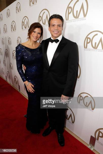 Producer Michael DeLuca and Angelique Madrid arrive at the 24th Annual Producers Guild Awards held at The Beverly Hilton Hotel on January 26 2013 in...