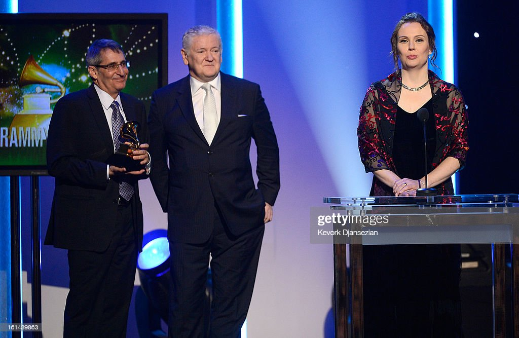 Producer Michael Friedman, recording engineer Darcy Proper and Producer Jim Anderson winners of Best Surround Album for 'Modern Cool' onstage at the The 55th Annual GRAMMY Awards at Staples Center on February 10, 2013 in Los Angeles, California.