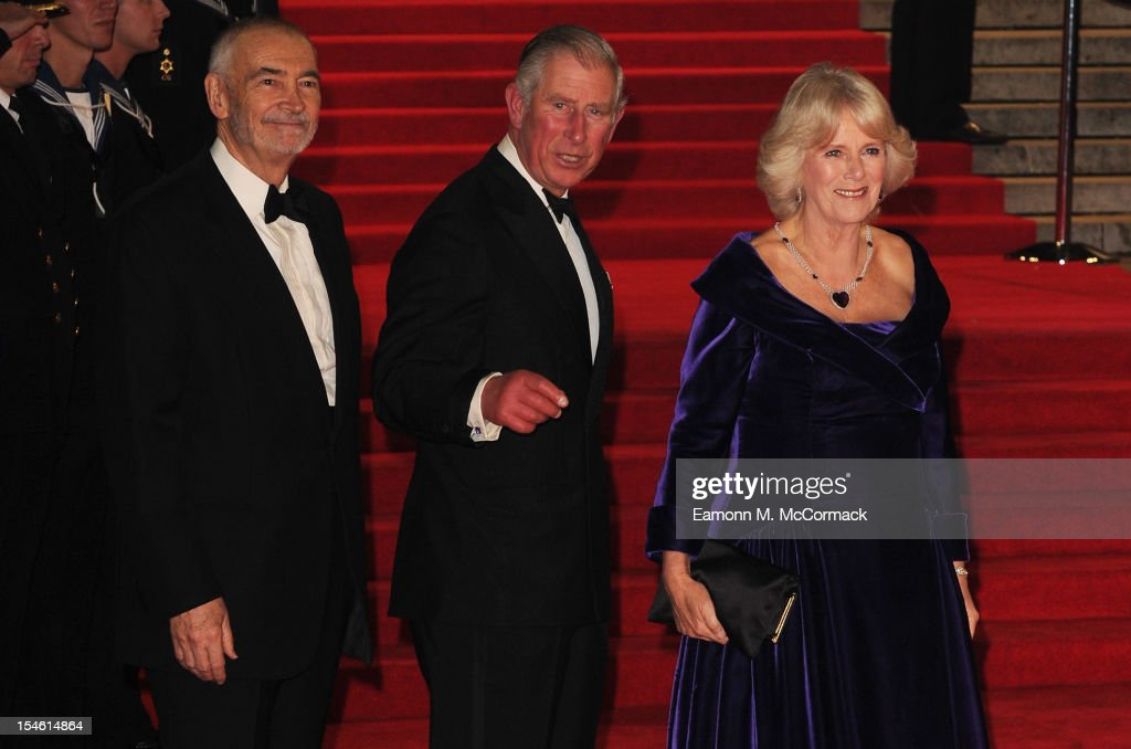 Producer Michael G Wilson and Prince Charles Prince of Wales and Camilla Duchess of Cornwall attend the Royal World Premiere of 'Skyfall' at the...